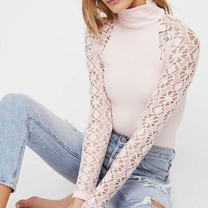 Free People Baby Pink Rib and Lace Turtleneck